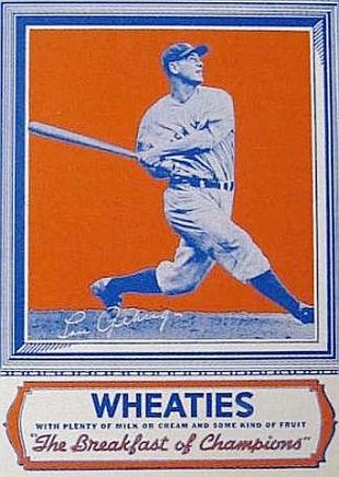 1934 lou gehrig and his bat Wheaties Box